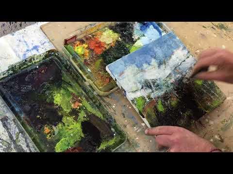 Lewis Noble Studio Painting In Oil.