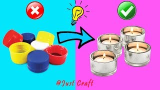 6 Tea Light Ideas from Bottle Caps | Tea Light making at home | Just Craft