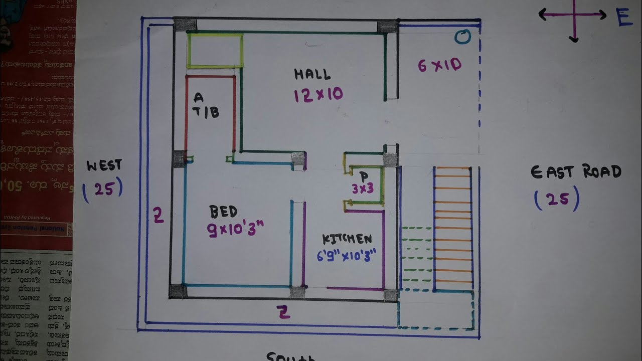 25 × 27 East Face house plan map naksha details