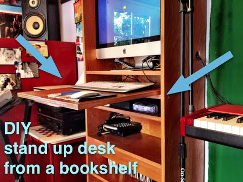 How to make a stand up desk from a bookshelf + yoga stretches for working  on your feet - YouTube