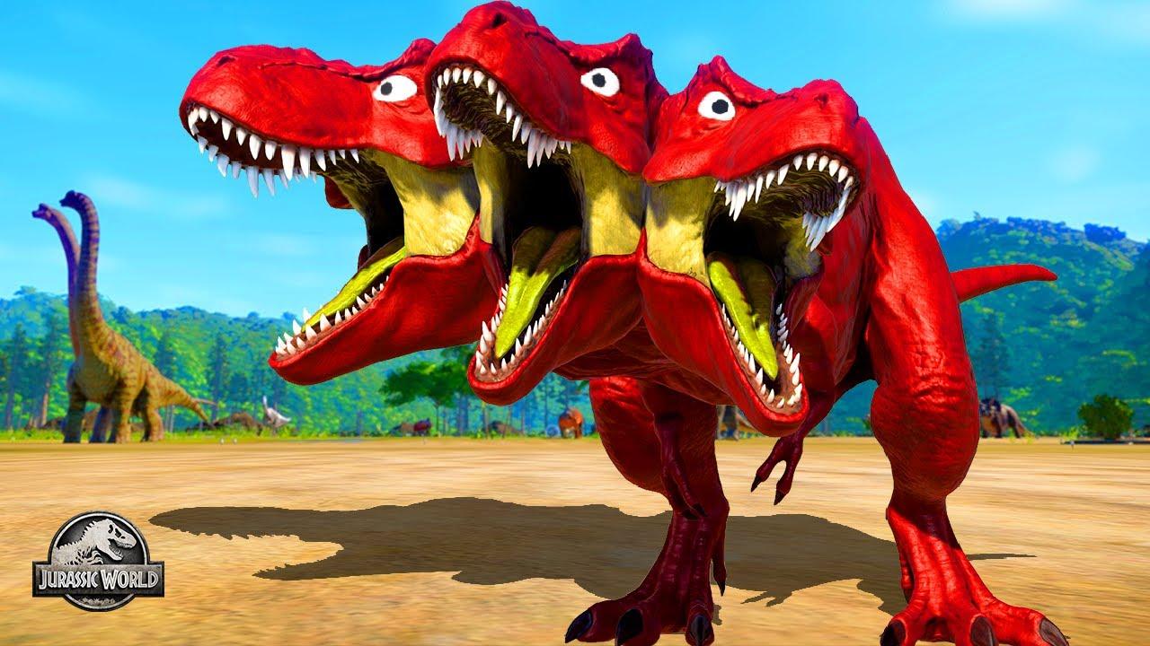 Red 3 Head T-Rex vs Green Malusaurus vs Pink Shark vs Isle Giganatosaurus 🌍 Jurassic World Evolution
