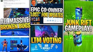 "Fortnite: Junk Rift Gameplay, Epic CO-Founder ""Lost"", TONS OF Glitches/Bugs/Secrets - UPDATES!"