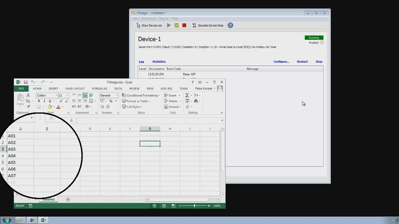 TWedge Tutorial #1: Data Collection Basics (Serial to MS Excel)