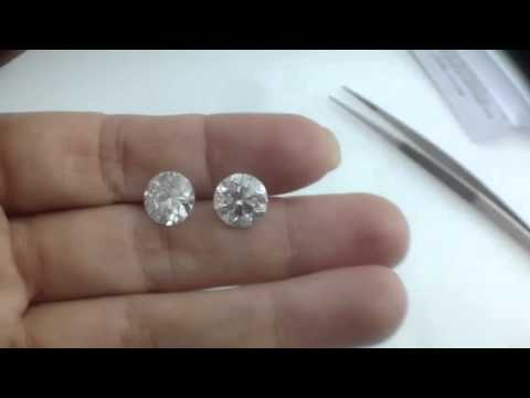 5 Carats Diamond Earrings Solitaire Stud Round Brilliant Si G 14k White Gold