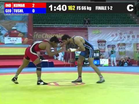 sushil kumar olympics qualifying match in china.mp4