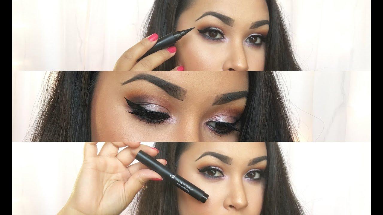 Makeup Basics: EASY WINGED EYELINER | Part One | Elf Intense Ink Eyeliner Pen