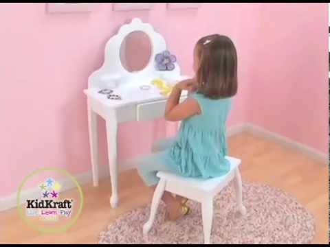 Coiffeuse en Bois pour enfant avec Tabouret Kidkraft - YouTube