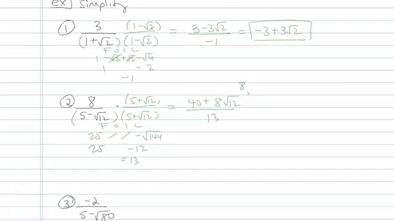 Worksheets Rationalize The Denominator Worksheet dividing radicals and rationalizing the denominator sample problem 10