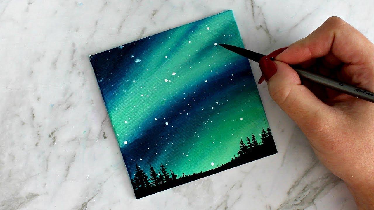 نقاشی ساده با مداد شمعی Aurora Sky Canvas Painting | artbybee7 | - YouTube