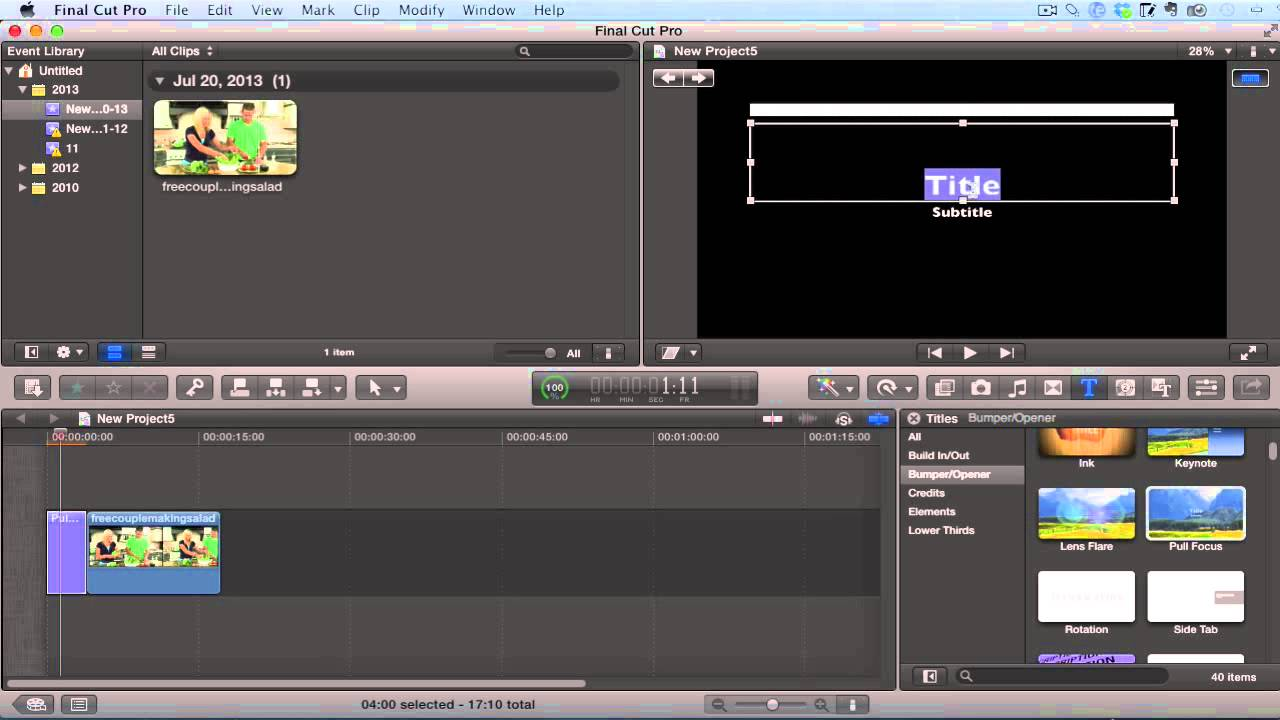 Final Cut Pro X Tutorial - Basic Opening Video & Text Titles & Intro's