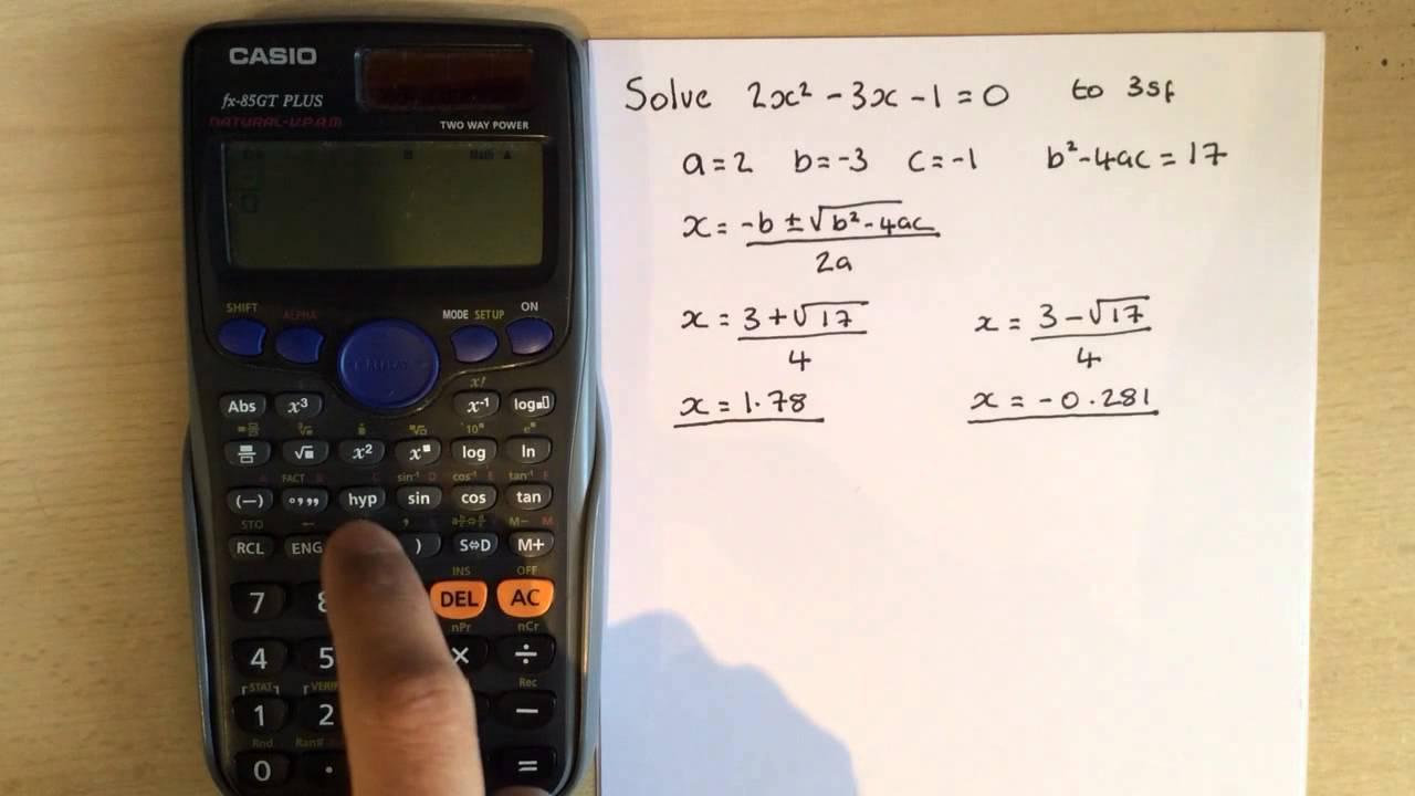 Calculator Hacks 5: Quadratic formula on Casio fx-85GT - YouTube