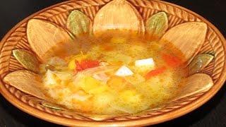 Овощной суп на курином бульоне в мультиварке. Полезный и вкусный суп.