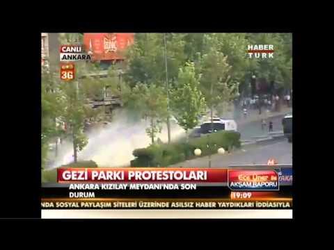 Gezi Parki Eylemi Ankara, Kizilay- Polisten Canlı yayında müdahale!