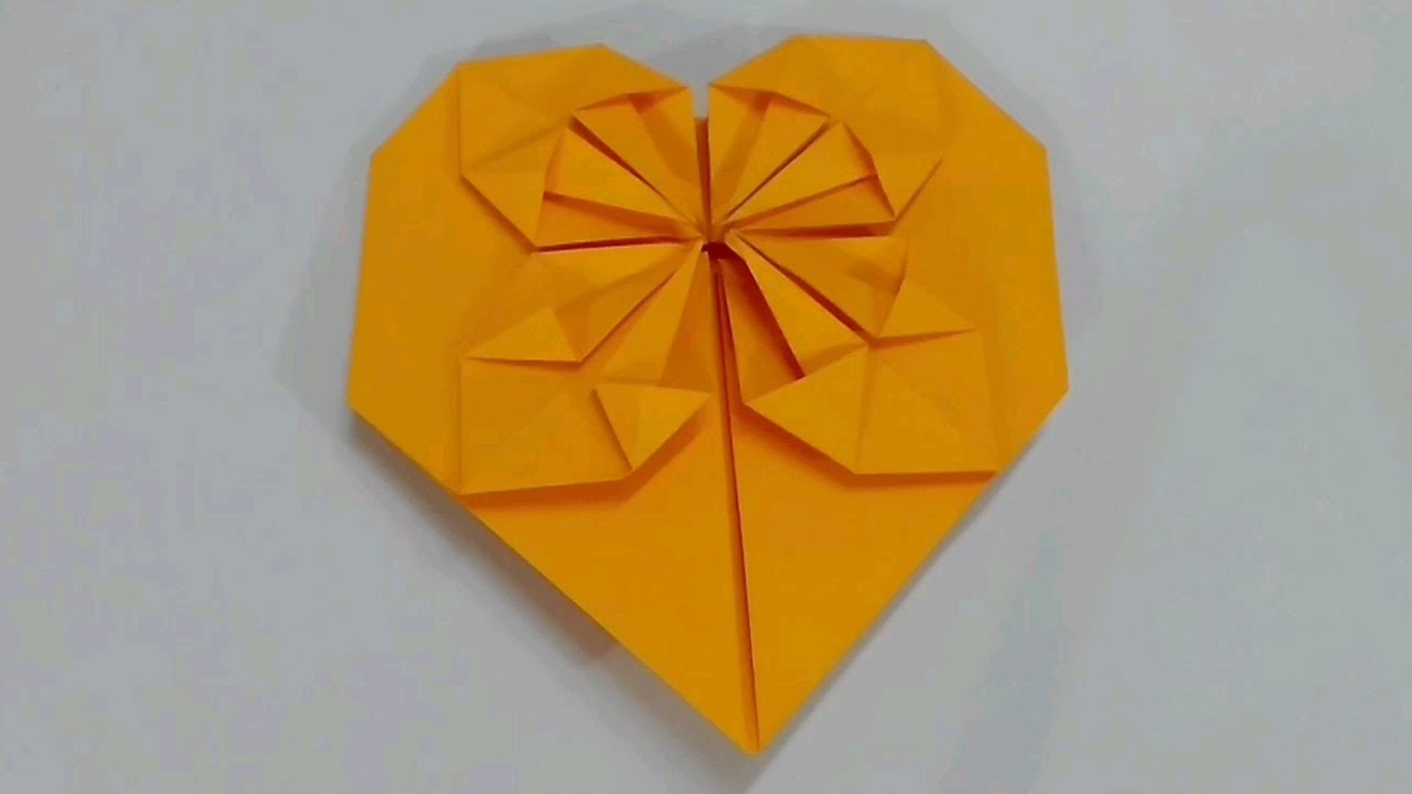 How To Fold An Origami Heart With A Starburst Pattern Blossom Tutorial