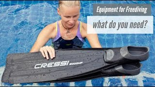 Freediving equipment. Less than in scuba diving?
