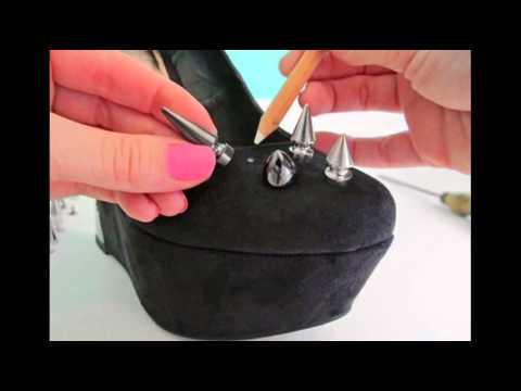 Классный мастер класс, как сделать моднючие туфли с шипами