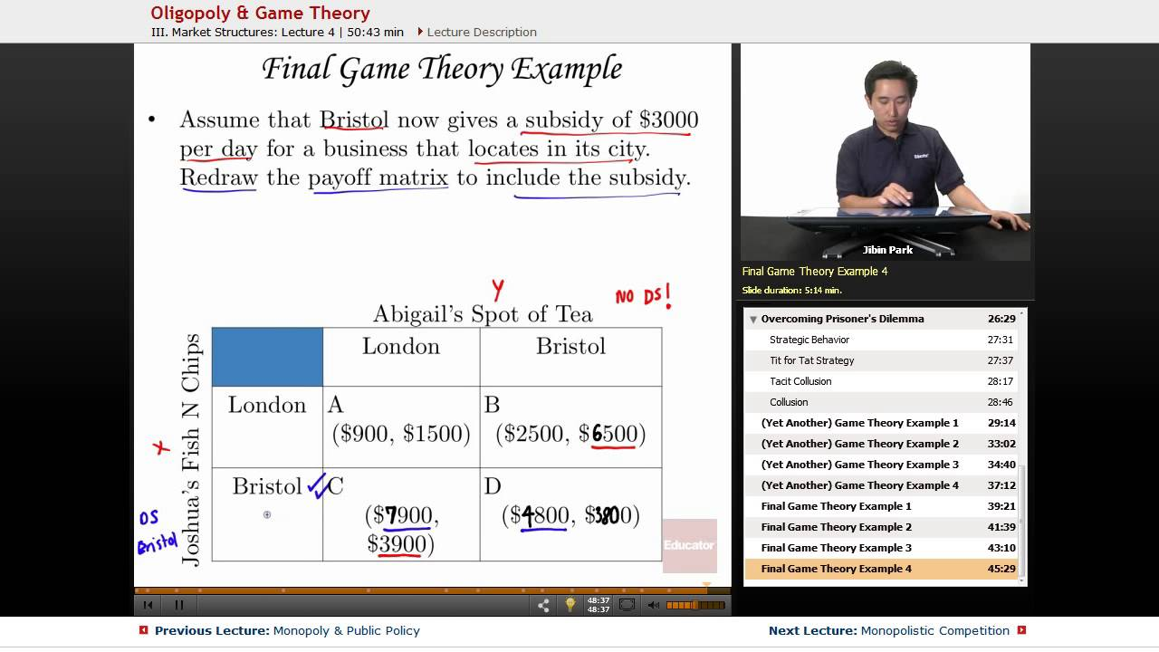oligopoly pricing and game theory Game theory has its origins in the mid-19th century with the publication of cournot's researches into the mathematical principles of the theory of wealth.