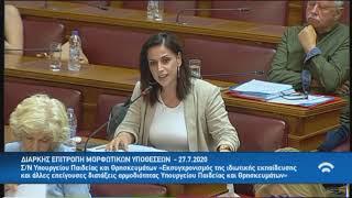 Ραλλία Χρηστίδου Επιτροπή Μορφωτικών Υποθέσεων ν/σ για την ιδιωτική εκπαίδευση 27 7 20