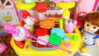 Fishing play and Baby doll kitchen food cooking play