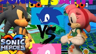 sonic vs amy on sonic heroes gameplay match
