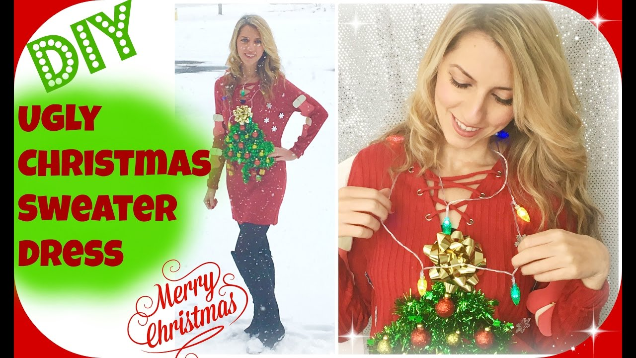 Ugly Christmas Party Ideas Part - 22: DIY Ugly Christmas Sweater Dress | Christmas Party Ideas - YouTube