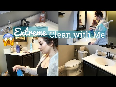 EXTREME CLEAN WITH ME- BATHROOM   cleaning motivation