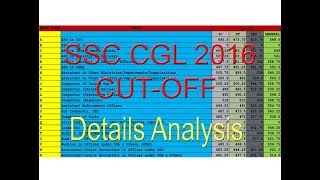 SSC CGL CUT OFF 2016-17 : FINAL RESULT DETAILS ANALYSIS OF POST WISE CUTOFF AND CATEGORY WISE CUTOFF