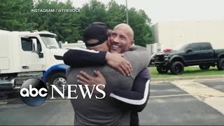 'The Rock' surprises his stunt-double cousin with a new truck