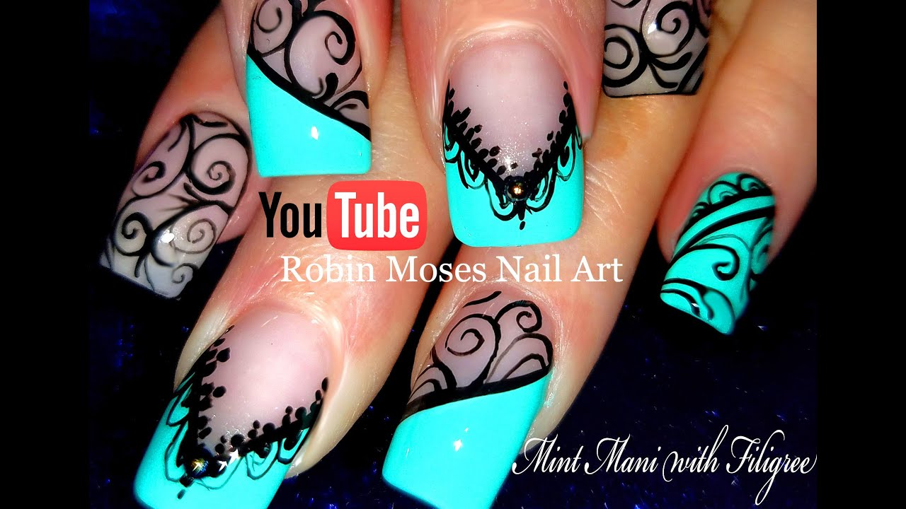 Black lace mint mani diy hand painted nail art design tutorial black lace mint mani diy hand painted nail art design tutorial youtube prinsesfo Image collections
