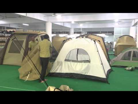 Cotton canvas fly on instant tent frame