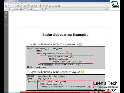 Oracle SQL 11g Tutorial in Bangla: Fundamentals#2 Lesson#6 Part#2 | Scalar  Sub query Expressions