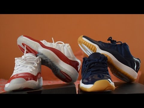 Jordan 11 low Cherry and Navy GS Review + On Feet - YouTube 31e70cc84