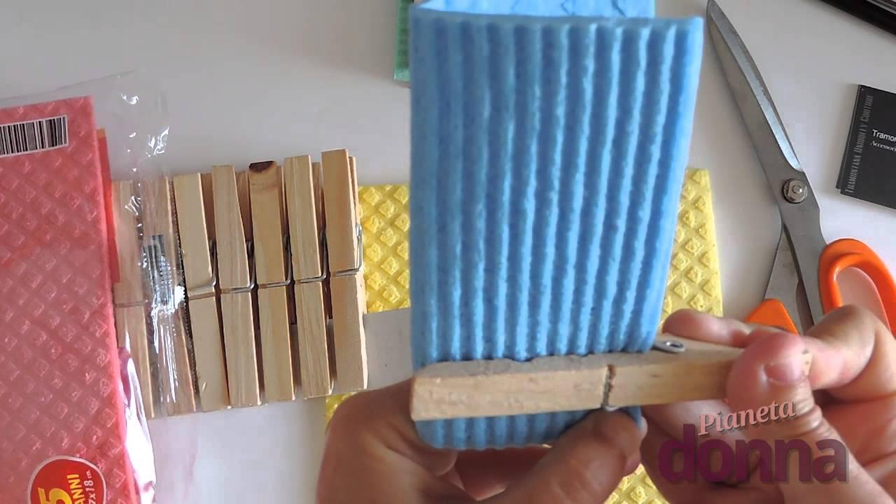 Come fare portaoggetti con un panno spugna tutorial for Cucina giocattolo fai da te