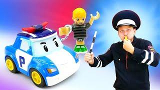 Веселая Школа для детей: Играем вполицию— Полицейские машинки— Наводим порядок вгороде!