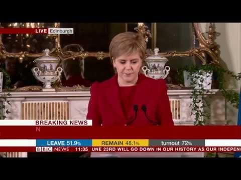 Nicola Sturgeon announces plans for second Scottish independence referendum after UK votes for Brex