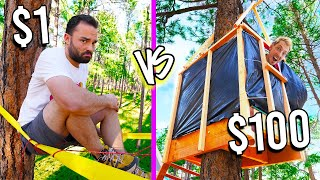 $1 VS $100 TREEHOUSES *Low Budgets ONLY Challenge*