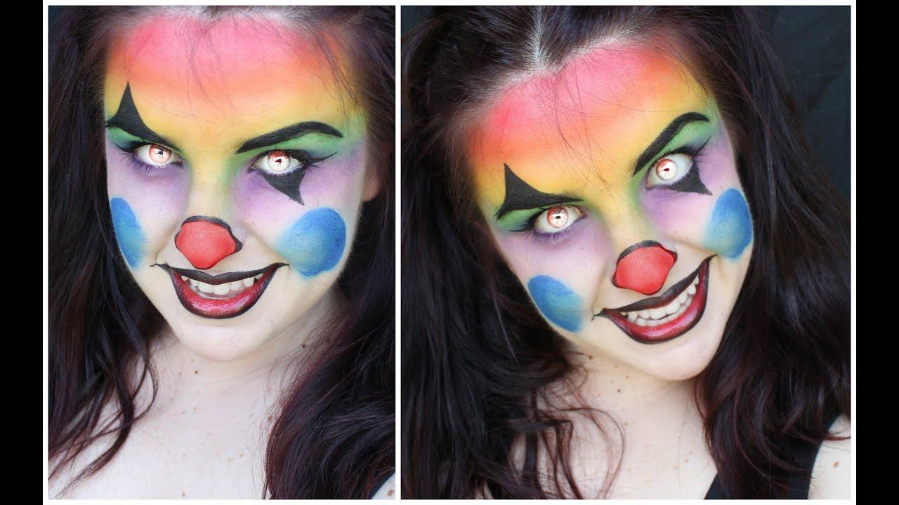 Colourful Creepy Evil Clown Makeup Tutorial - YouTube