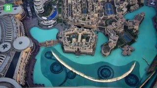 The Dubai Fountain, as seen from the top of Burj Khalifa, Dubai - High Speed