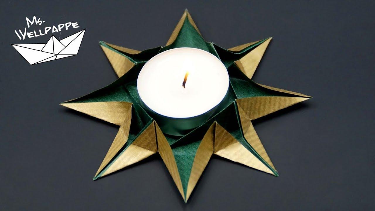 Origami Sterne Teelichthalter Falten Basteln Zu Weihnachten Youtube