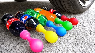 Crushing Crunchy & Soft Things by Car! Experiment Car vs Cola, Fanta Slime Balloons