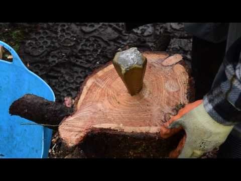 Firewood Chopping - log bomb, splitting maul and axe