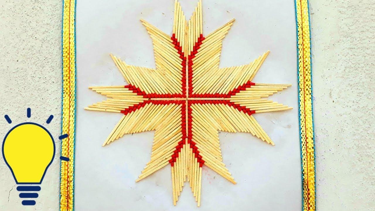 DIY matchstick wall hanging at home | matchstick home decoration ...