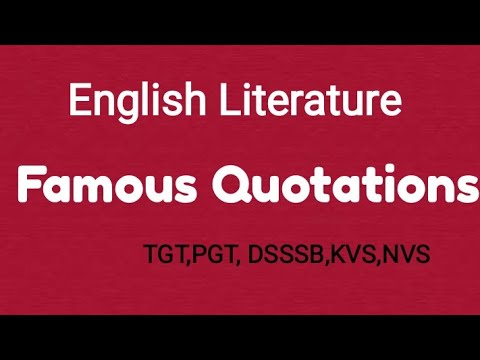 Famous Quotations in English Literature.