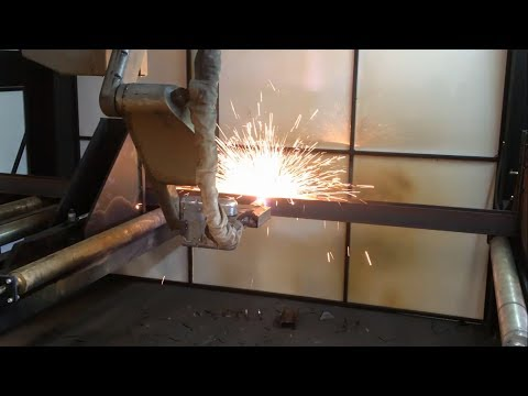 ART Metaltek ten axis robotic cnc plasma beamline cutting steel posts from 100mm universal column