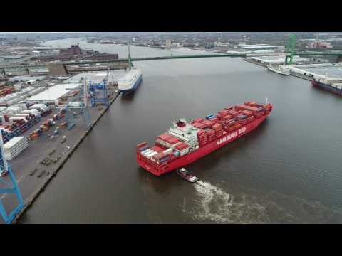 Watch Cargo Ship Arrive, Turn Around and be Parked - Delaware River - Philadelphia PA.