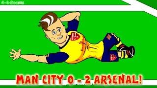 santi cazorla dance man city vs arsenal fc 0 2 goals highlights giroud football cartoon
