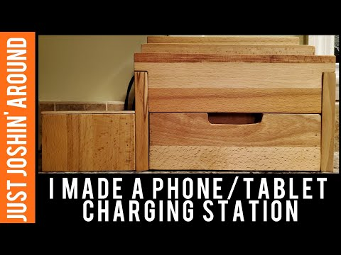 Wooden Charging Station for Phones, Tablets, or whatever needs to be charged // Just Joshin' Around