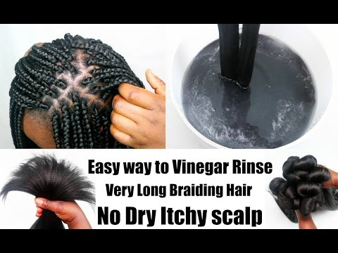 Easy way to Vinegar Rinse Long Synthetic braiding hair - Prep for Box Braids Twists UpDated Vedeo