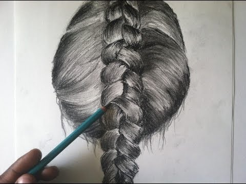 step-step drawing braided hair