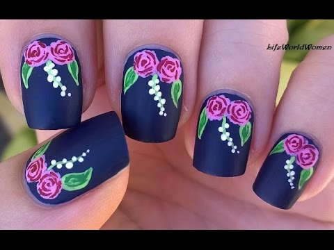 Matte Nails Idea Rose Nail Art Tutorial Using Acrylic Paint